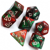 Green & Red Gemini Polyhedral 7 Dice Set